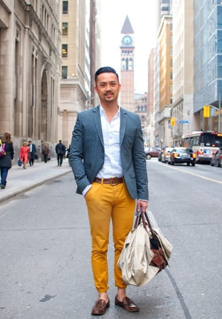 With white shirt, jacket, brown belt and shoes