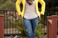 With white shirt, leopard scarf, jeans and pumps