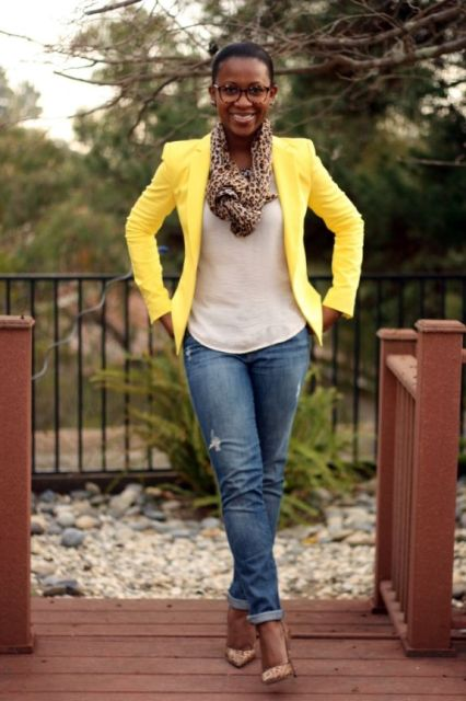 Picture Of With White Shirt Leopard Scarf Jeans And Pumps