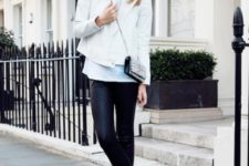 With white shirt, white jacket, leather pants and mini bag