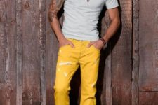 With white t-shirt and brown shoes