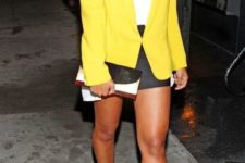 With white top, mini skirt, two color shoes and clutch