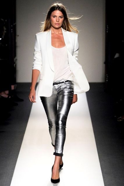 With white top, white blazer and black pumps