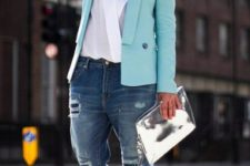 With white wrap blouse, distressed jeans, pastel color blazer and metallic shoes