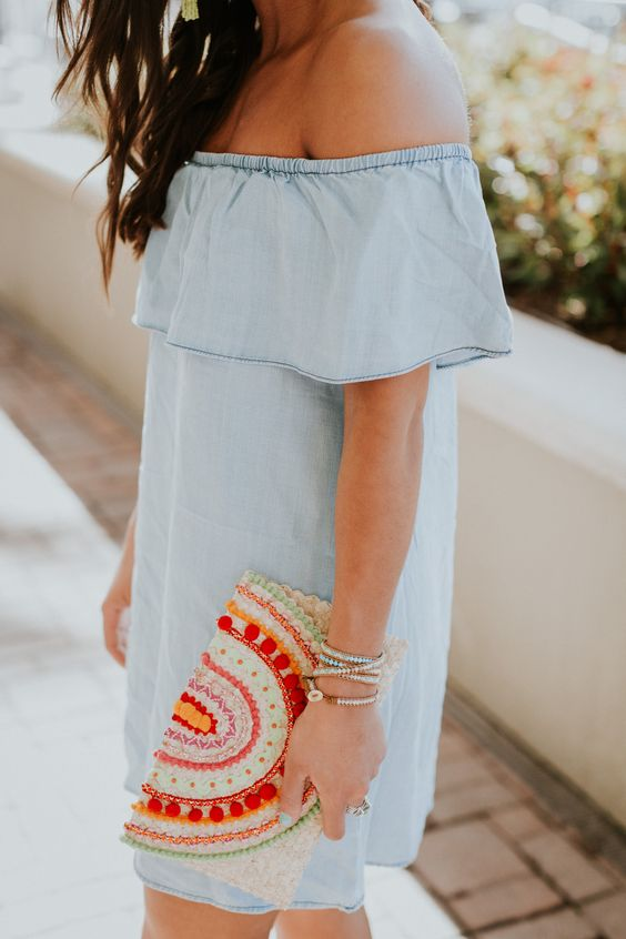 chambray off the shoulder dress, bold embroidered clutch