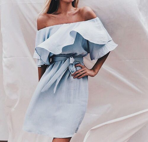 chambray off the shoulder dress with a ruffle