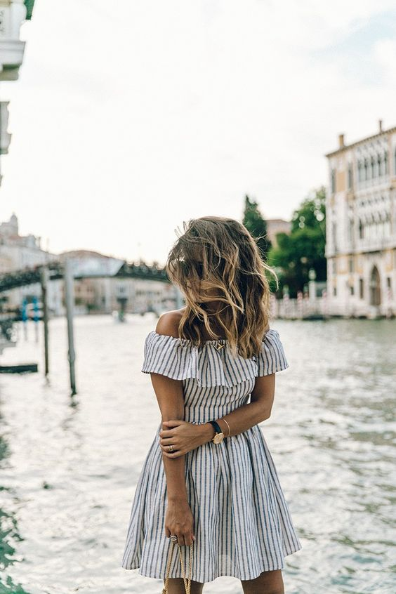 grey striped ruffle dress