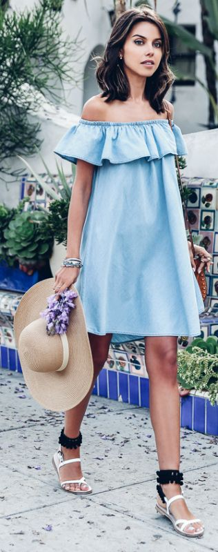 light blue ruffle off the shoulder dress, pompom sandals and a hat
