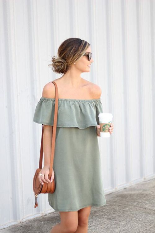 off the shoulder ruffle dress in olive green and brown accessories
