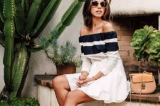 off the shoulder stripe sleeve midi dress and sandals