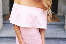 pink fitted off the shoulder dress over the knee