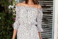 pretty and flowy off the shoulder dress and a crossbody bag