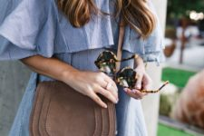 ruffled off the shoulder gingham grey dress and a brown crossbody