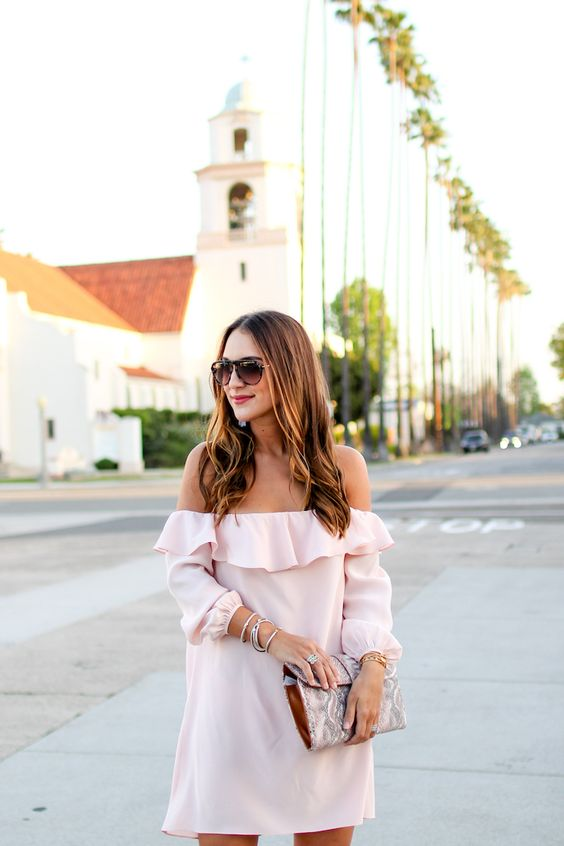 ruffled pink off the shoulder dress with sleeves