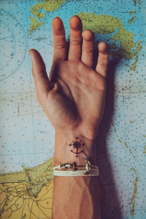 small compass 24 tattoo on a wrist