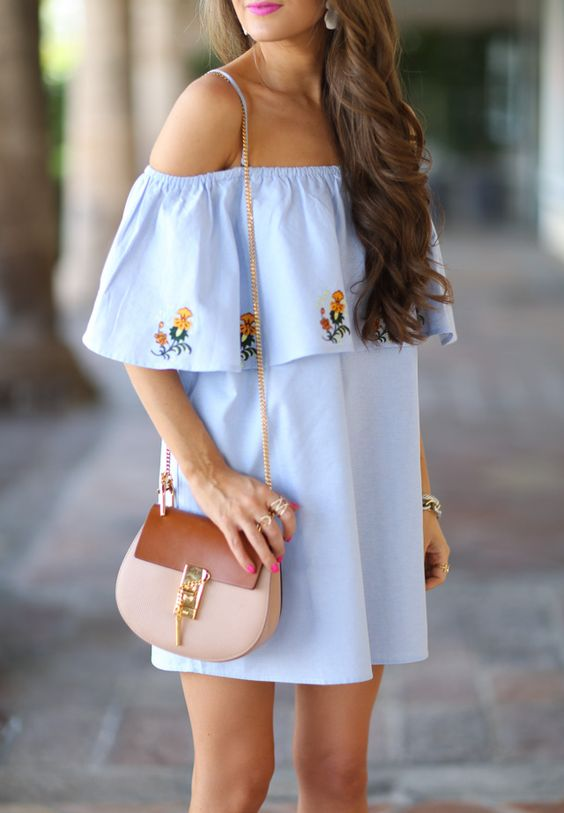 white embroidered midi off the shoulder dress, a crossbody