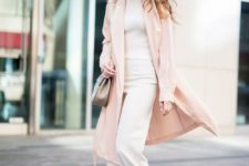 02 a white top and wide pants, a blush long blazer and heels