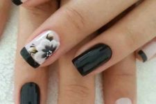 02 black and blush French manicure with two black nails and flowers