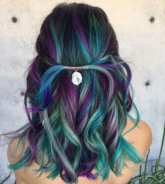 black hair with teal, navy and purple balayage