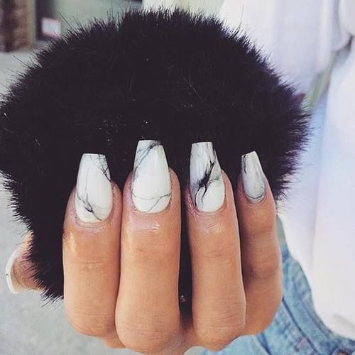 Picture Of Marble Nails In Black And White Look Very Chic