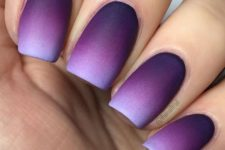 02 ombre matte nails from bold purple into very light lavender