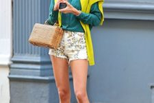 03 an emerald shirt, a lime green long sleeve, floral shorts and brown flats
