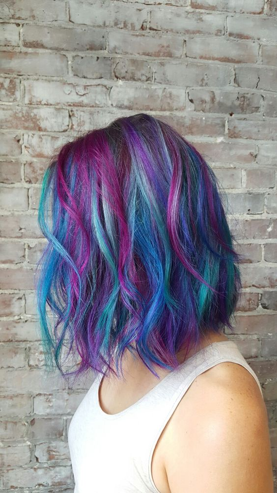 blue hair with purple balayage