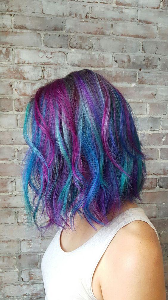 blue hair with purple balayage