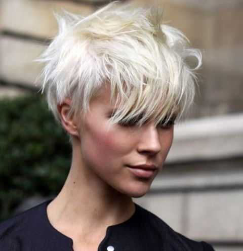 Icy Blonde Pixie Haircut Looks Very Modern