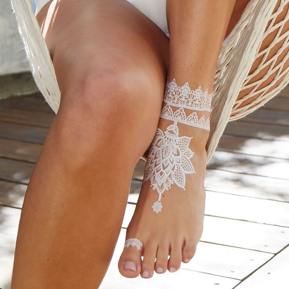 lace foot and ankle tattoo will make you look refined