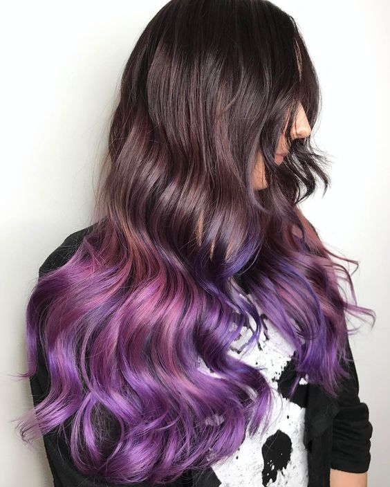 natural chestnut hair with purple and pink ombre