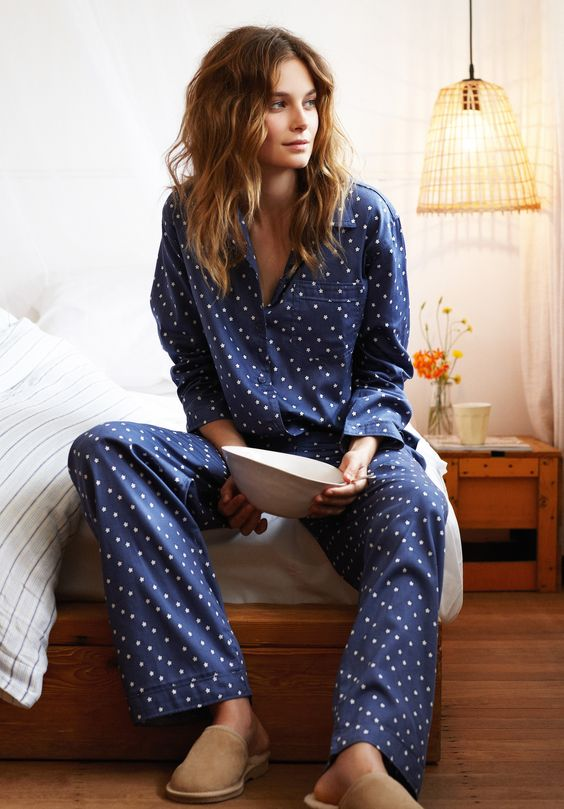 navy stars pajamas with pants