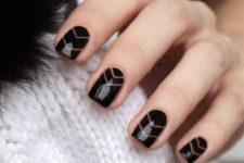04 black negative space chevron nails