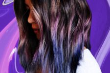 04 black wavy hair with purple and blue ombre touches