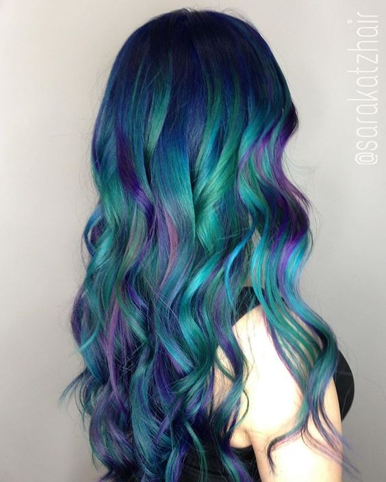 bold green hai with blue and purple balayage