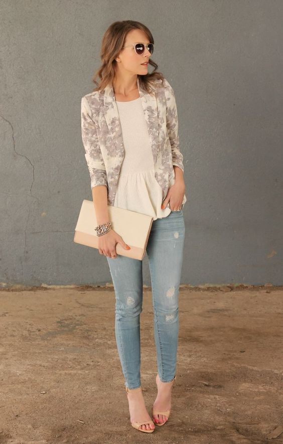 distressed skinnies, an ivory ruffle top, nude heels and a neutral blazer