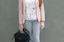 04 grey jeans, a floral white lace top, a blush blazer and lace up flats