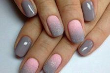04 grey nails and pink into grey ombre glitter matte nails