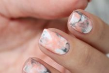 04 pink, grey and white marbelized nail design