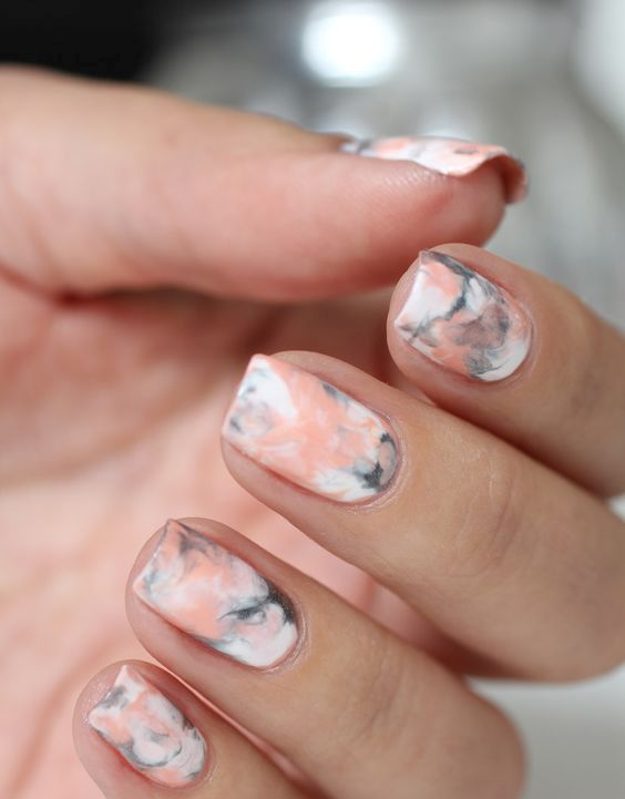 Pink Grey And White Marbelized Nail Design
