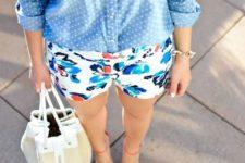 05 a polka dot chambray shirt, floral shorts and red shoes