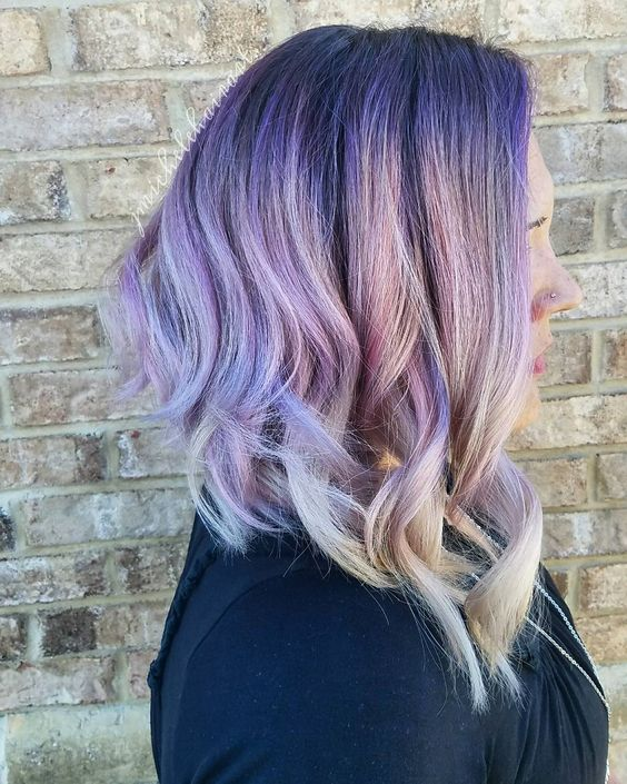 amethyst hair with an ombre effect to white