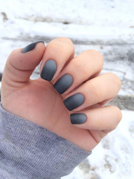 black into grey ombre matte short nails