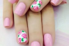 05 bold pink nails with accent pink roses