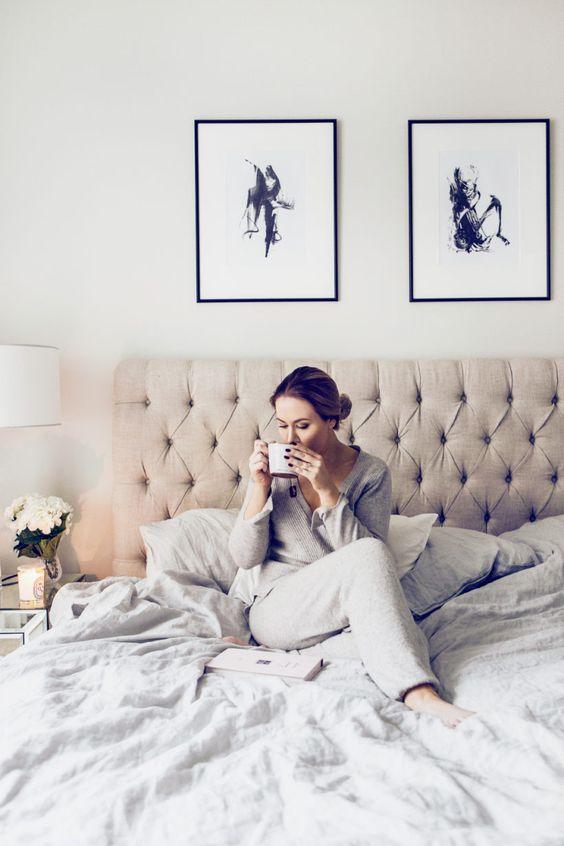 comfy grey pajamas with pants and a shirt