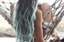 05 dark hair with light green balayage resembling of sea foam