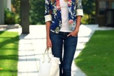 05 navy denim, a white top, red booties and a blue floral blazer