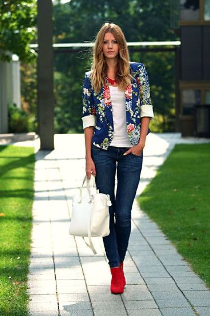 Picture Of Navy Denim A White Top Red Booties And A Blue