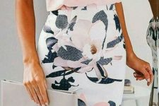 06 a floral knee pencil skirt and a blush top on spaghetti straps
