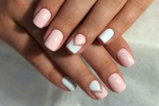 06 blush nails and blush and white chevron nails with a negative space